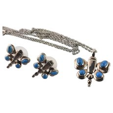 Marked Sterling & Turquoise Butterfly Necklace & Earrings