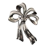 Large Heavy Sterling Bow Brooch