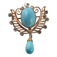 Marked Van Dell 12KGF Turquoise Colored Stone Brooch/Pendent