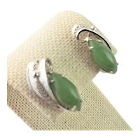 Marked Sterling & Jade Screw Back Earrings