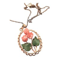 Carved Coral & Jade Gold Filled Necklace