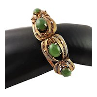 Sorrento Gold Filled Natural Jade/Jadeite Bangle Bracelet