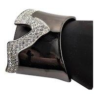 Stunning Rhinestone & Black Enamel Cuff By KJL