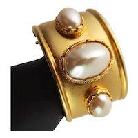 KJL Large White Faux Pearl Bangle Bracelet