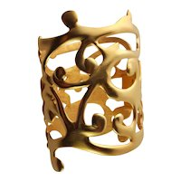 Sculpted Cut Out Gold Plated KJL Cuff Bracelet