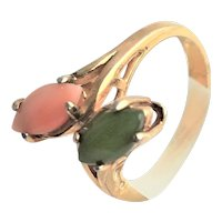 Golden Sterling(Vermeil) Coral & Jade Ring