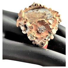 Enamel Flowered KJL Large Stone Ring