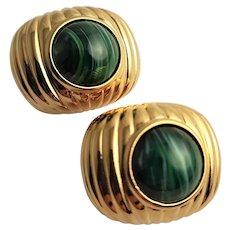 Beautiful Joan Rivers Button Gold Plated Earrings