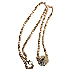 Beautiful Joan Rivers Clear Crystal Ball Necklace