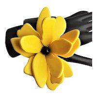 Spectacular Yellow & Black Lucite Bracelet