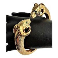 Gold Plated Rams Head Bangle Bracelet