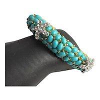 Three Starfish Turquoise KJL Bangle Bracelet