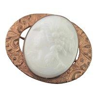 Very Old Milk Glass Cameo Brooch