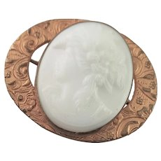 Very Old Milk Glass Cameo Brooch