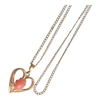 Signed 12KGF Heart Pendent With Coral Stone