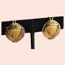 Beautiful Amber Colored Molded Glass Shoe Clips