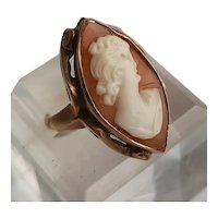 Hand Carved Shell Cameo Ring