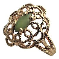 Marked 14KGF & Jade Ring