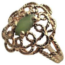 Marked 14KGF & Jade Ring