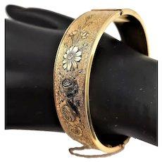 Marked 12KGF A&Z Flower Embossed Bangle Bracelet