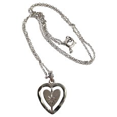 White Gold Pierced Heart Pendent Necklace