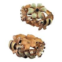 Wonderful Enamel Flower & Bee KJL Earrings