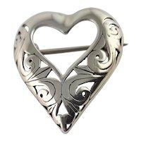 Lovely Sterling Heart Shaped Brooch