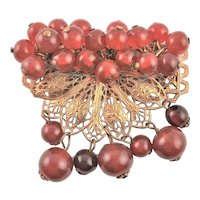 Antique Red Bead Movable Brooch