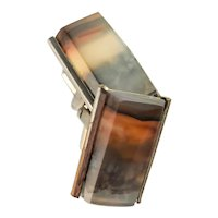 Vintage Agate Gold Plate Cuff Links
