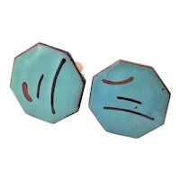 Stunning Turquoise Enamel & Copper Cuff Links