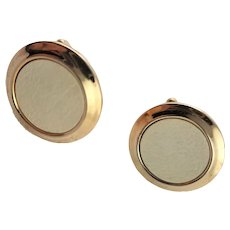 Vintage White & Gold Plated Cuff Links