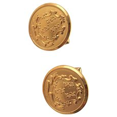 Vintage Gold Plated Crest Cuff Links