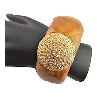 Heavy Bakelite Bangle Bracelet W/ Gold Plated Design