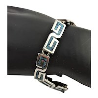 Sterling Signed & Turquoise Inlay Bracelet