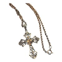 Sterling & Gold Fancy Cross Chain Necklace