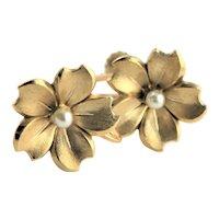 Pretty Krementz Cultured Pearl & Gold Plated Earrings