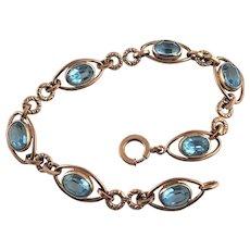 Marked Sturdy 12KGF Aqua Marine Glass Bracelet