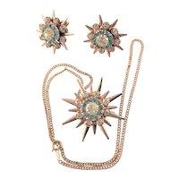 Marked Jayposen Sterling Star Pendant & Matching Earrings