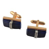 Kreisler Gold Filled & Blue Glass Cuff Links