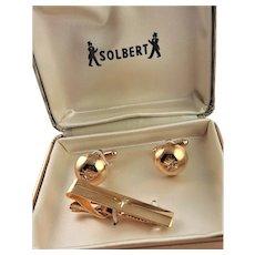 New Solbert Gold Plated Cuff Links & Tie Bar