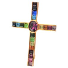 Marked PCS Multi Colored Crystal Stone Cross Brooch