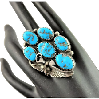 Stunning Native American Sterling& Turquoise Ring
