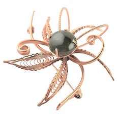 Dimensional Gold Plated & Jade Brooch