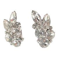Fabulous Clear Rhinestone Clip Earrings