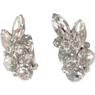 Fabulous Clear Rhinestone Clip Earrings
