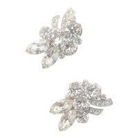 Fabulous Eisenberg Clear Rhinestone Clip Earrings