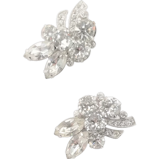 Fabulous Eisenberg Clear Rhinestone Clip Earrings
