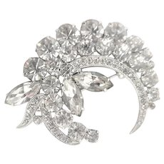 Marked Eisenberg Ice Clear Rhinestone Brooch