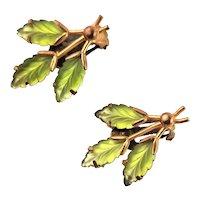 Green Fancy Glass Marked Earrings