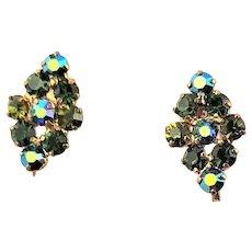 Marked Austria Green AB Rhinestone Earrings